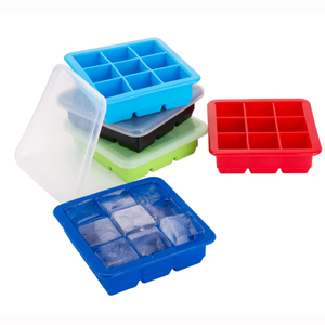 Fabrik Großhandel Neuheit Custom Stackable No-Spill Silikon Clear Ice Cube Cream Tray Form mit Deckel